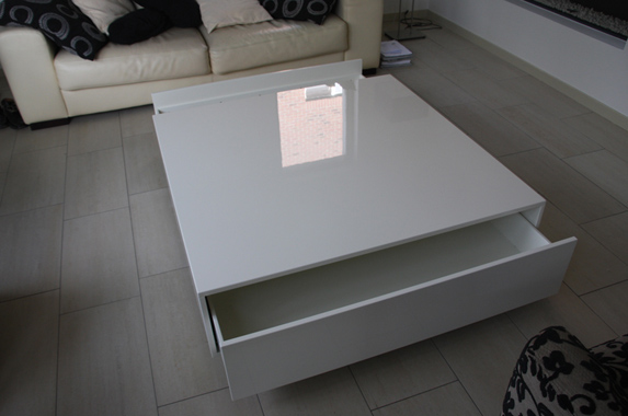 Salontafel Wit Vierkant Hoogglans.Design Salontafel Op Maat Greeploos En In Houtfineer Of In